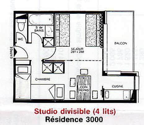 Grundriss des Objektes Mietobjekt Studio 2155 La Plagne