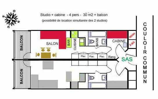 Grundriss des Objektes Mietobjekt Studio 238 Les Arcs