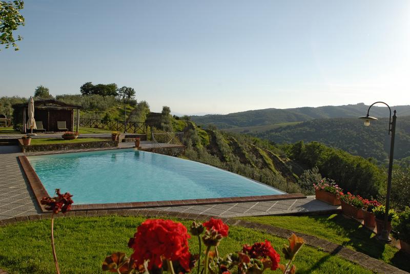 Ausblick von der Terrasse Mietobjekt Ferienunterkunft auf dem Land 65957 Siena