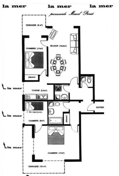 Grundriss des Objektes Mietobjekt Appartement 10782 Cabourg