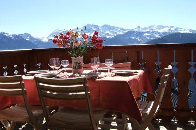 Ausblick vom Balkon Mietobjekt Appartement 29137 Les Saisies