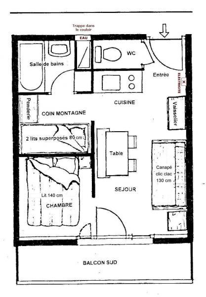 Grundriss des Objektes Mietobjekt Studio 38943 Alpe d'Huez