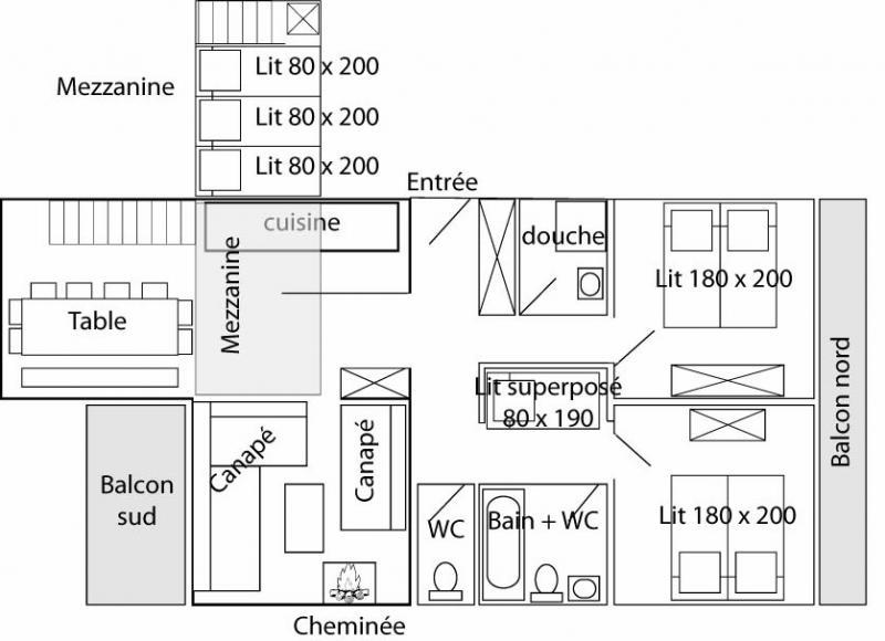 Grundriss des Objektes Mietobjekt Appartement 60012 Tignes