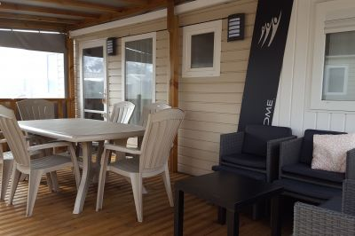 Terrasse Mietobjekt Mobil-Home 114663 Biscarrosse