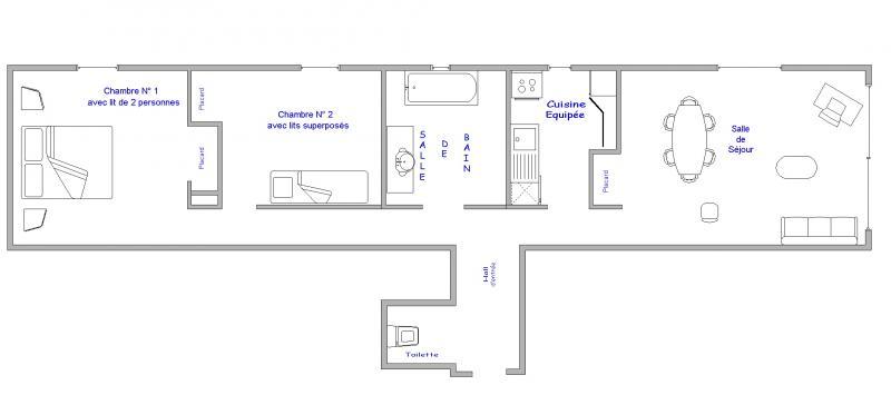 Grundriss des Objektes Mietobjekt Appartement 64 Alpe d'Huez