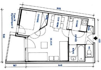 Grundriss des Objektes Mietobjekt Studio 92355 Les Menuires