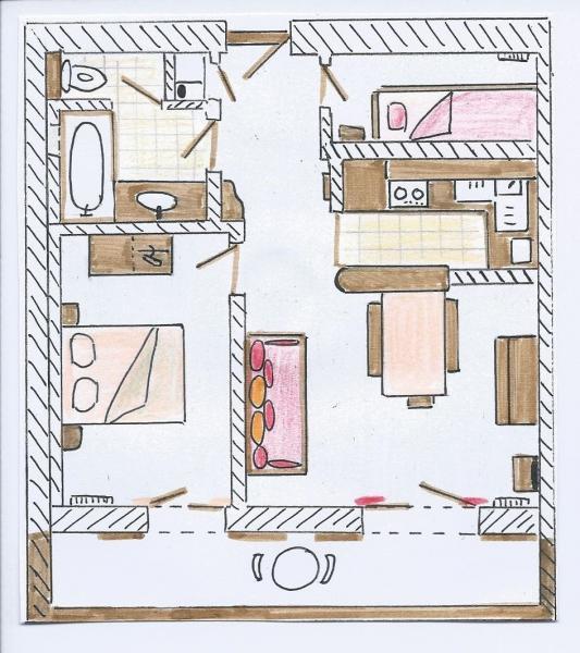 Grundriss des Objektes Mietobjekt Appartement 76154 Le Grand Bornand